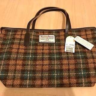 harris tweed wool handbag purse 羊毛 啡綠色 格仔 日本製 袋