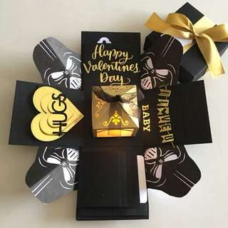Star war valentine explosion box with lighthouse, 4 waterfall in black & gold