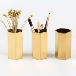 Gold pen holder/brush holder