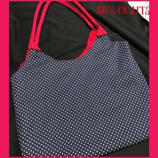 Polka dots canvas tote bag