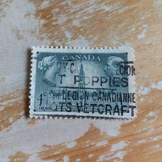 加拿大郵票1948年國會大厦已銷郵票