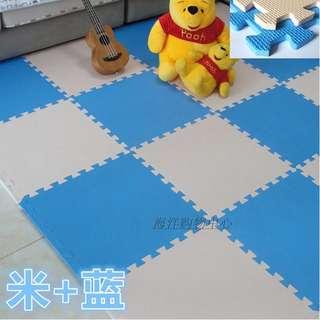 Eva Foam Puzzle Exercise Mat Interlocking Floor Tiles (Beige + Blue)