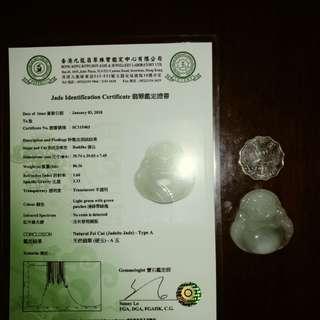 天然A貨翡翠 有珠寶業界 認可的鑑定證書  證書編號SC115403