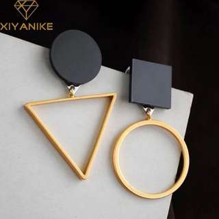 Square round assymetric drop earring