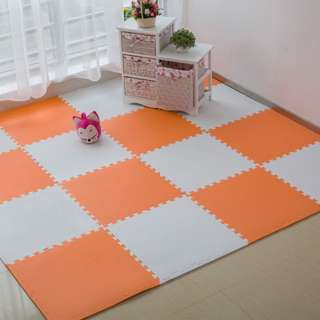 Eva Foam Puzzle Exercise Mat Interlocking Floor Tiles (White + Orange Mandarin)