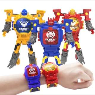 Authentic robot kids watch Brand New can transform to toy as shown on pic 4 Colours Available while stock last