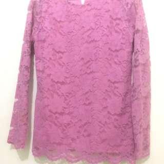 blouse brukat warna dusty pink