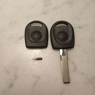 VW Spare Key With Immobilizer Chip - Golf Scirocco Caddy Jetta