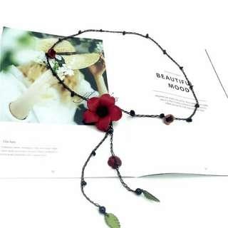 多用途項鍊-手鏈-頭飾--皮質+泰國蠟線(紅)