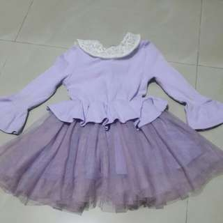 korea girl dress purple