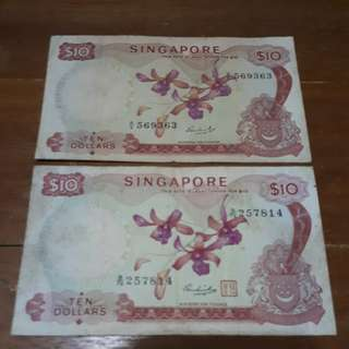 2 X Singapore Ten Dollars Orchid Series Old Note