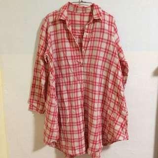🚚 Vieso 麻質紅白格子洋裝