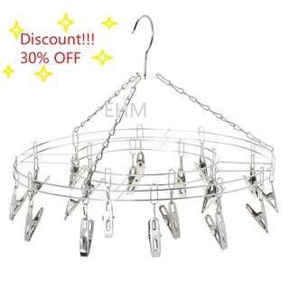 Stainless Steel Round Hanger with 15 Clips ( DISCOUNT!!! 30% OFF )