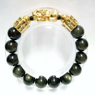 Golden Onyx Gemstones (12mm) Bracelet with 2 gold-plated stainless steel Abacus and gold-plated Pixiu charm
