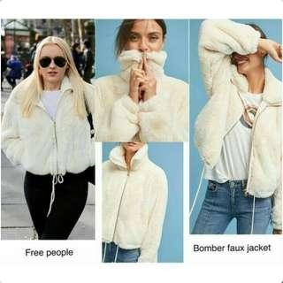 FREE PEOPLE White Bomber Faux Jacket
