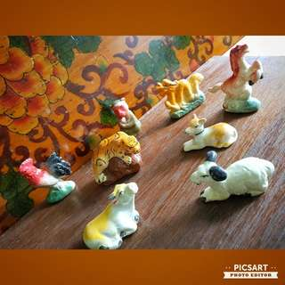 1960s Hand-Made Colourful Chinese Porcelain Figures of Zodiac Animals. Unused, Mint Conditon. All 12pcs for $40 offer, sms 96337309.