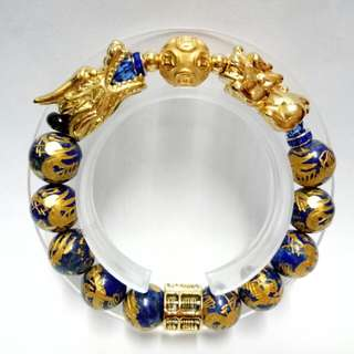 Four-in-One Lucky Charms Lapis gemstones Bracelet :  Dragons Lapis Gemstones (12mm) Bracelet with gold-plated stainless steel Dragon, Abacus, Pixiu and gold-plated 999pure silver Lucky Ball Charm
