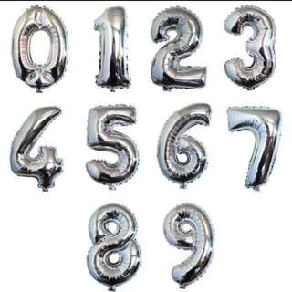 Silver Foil 32 Inch Number Balloon