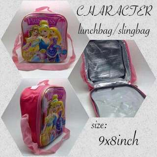 **3D CHARACTER  **Lunchbag **Slingbag **size 9x8inch **php350