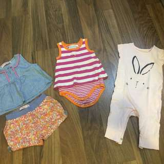 3 sets of baby girl clothings