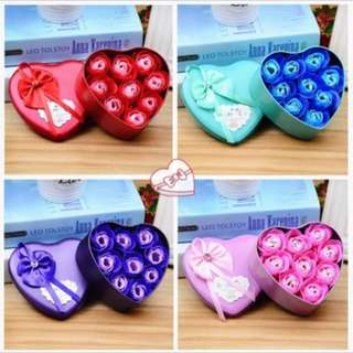 Valentine 9  Soap Flower With Cute Heart Gift  Box