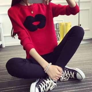 🚚 全新 韓版嘴唇紅色針織毛衣