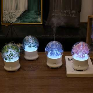Portable Travel Air Humidifier Mist Moisturizing Vaporizer Ultrasonic Diffuser Humidifier with Night Led Light Cool Home Aroma Purifier Flower