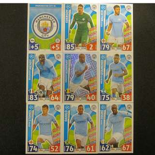 最新 17/18 歐聯 Match Attax Champions League 18 cards TEAM set #Manchester City 曼城