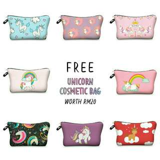 FREE UNICORN COSMETIC BAG