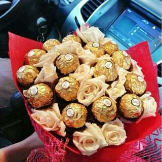 ferrero and flower bouquet