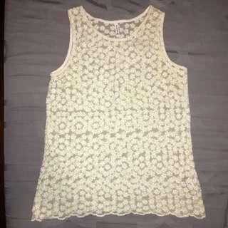Stradivarius flower embroidery mesh tank top