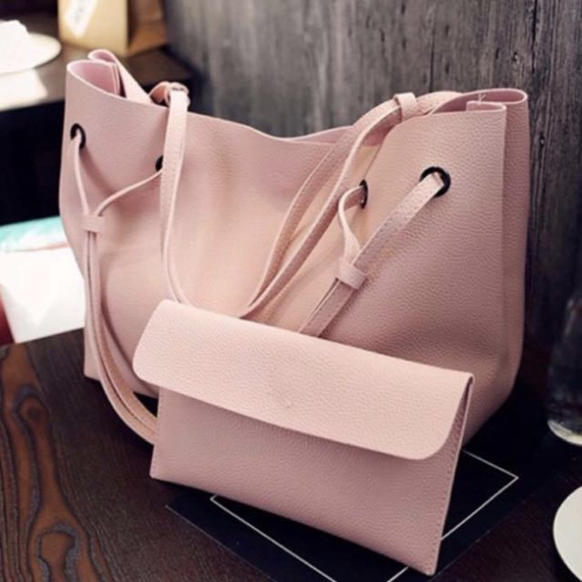 f0294ba024 2 in 1 Large Casual Leather Bucket Shoulder Bag Office Bag Tote ...