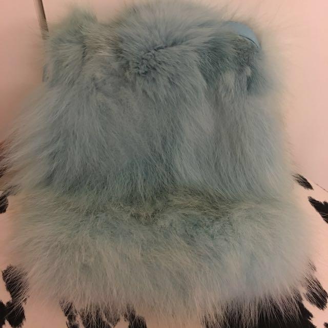 狐貍毛皮草斜背包(背帶小羊皮)