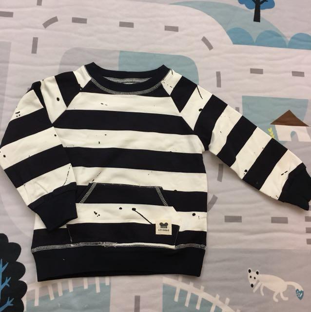 外貿款潑漆黑白條紋純棉上衣