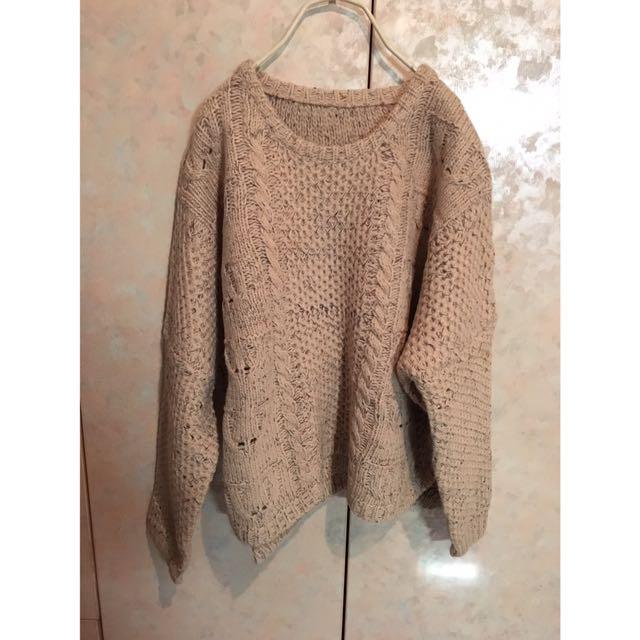 麻花針織毛衣(卡色)