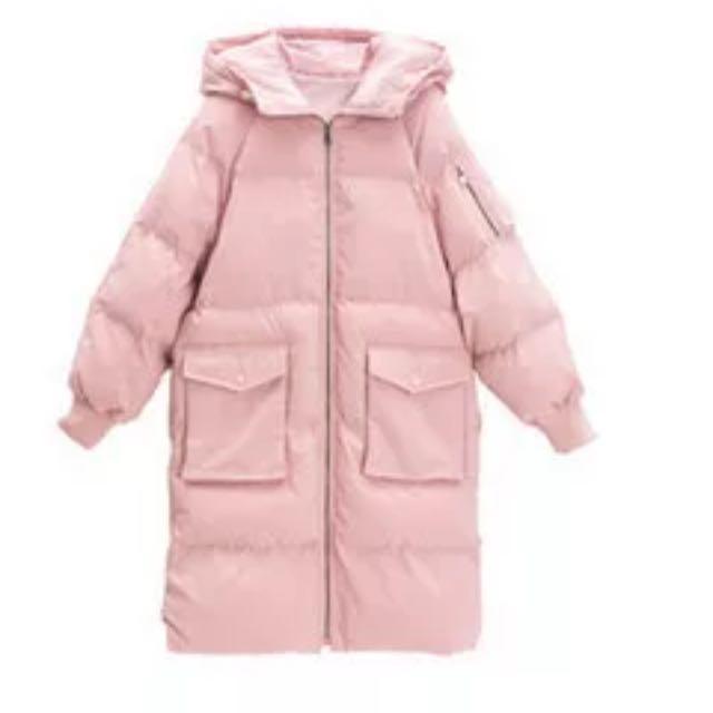 韓版胖胖厚長版外套粉色羽絨外套進全新