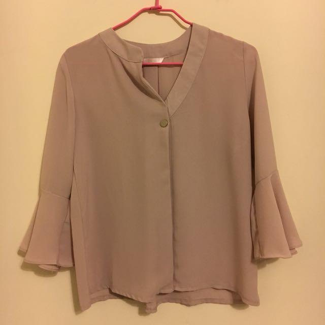 韓版 荷葉袖襯衫