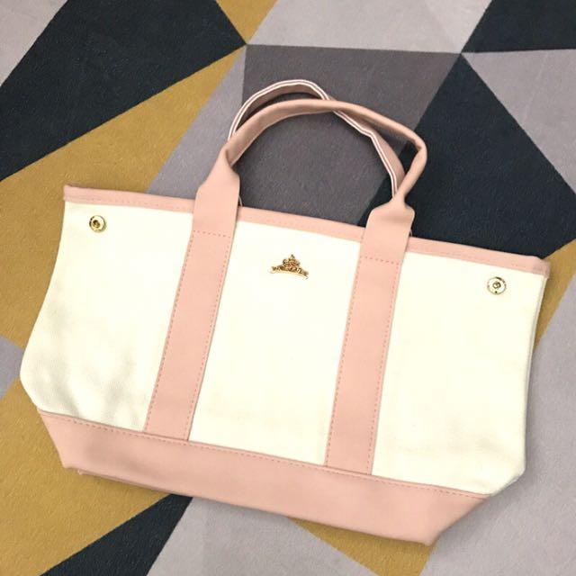 粉色👑典雅皇冠適釦手提袋 便當袋 異材質拼接