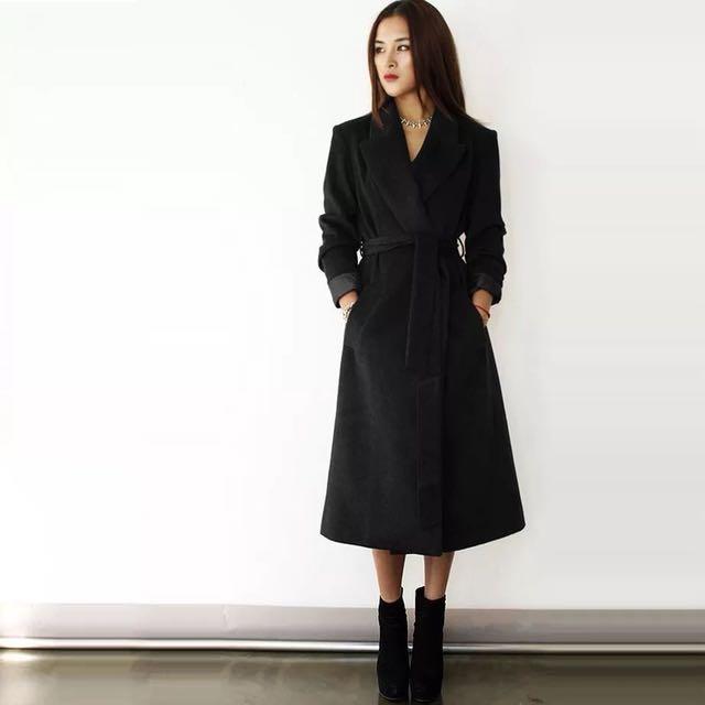 韓版 毛料綁帶超長版版子超挺腰身黑色毛呢 氣質質感 長大衣 風衣外套 大衣外套