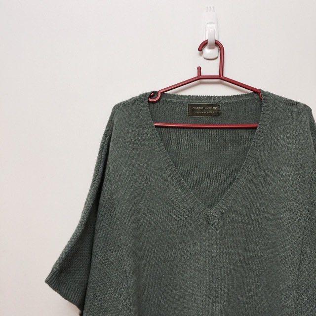 日系 灰綠 藍綠 V領 寬鬆 厚實 毛衣 長裙 #大掃除五折