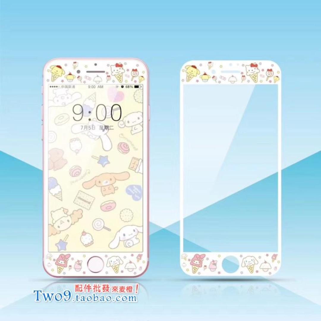 現貨+預購🏩可愛冰淇淋布丁狗 美樂蒂 Kitty 大耳狗 iPhone 鋼化玻璃膜 螢幕保護貼