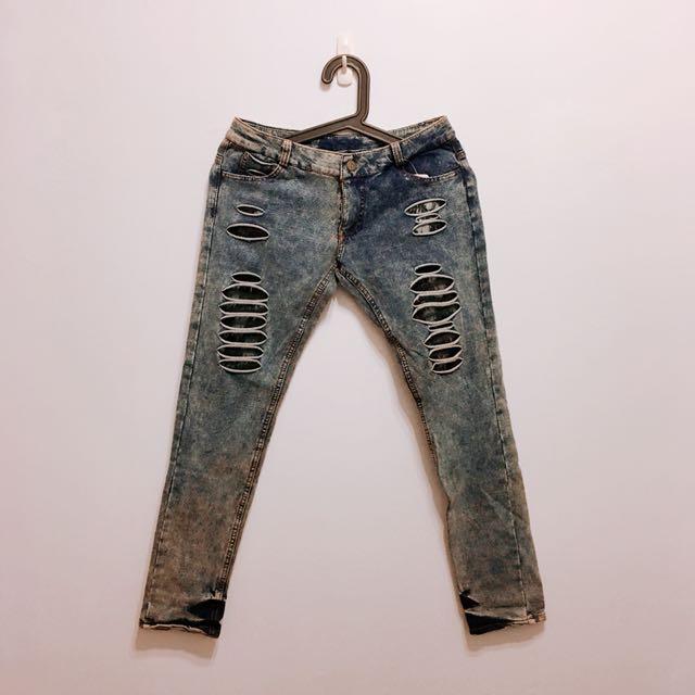 韓●單寧彈性煙管牛仔褲 (女神LENA款)