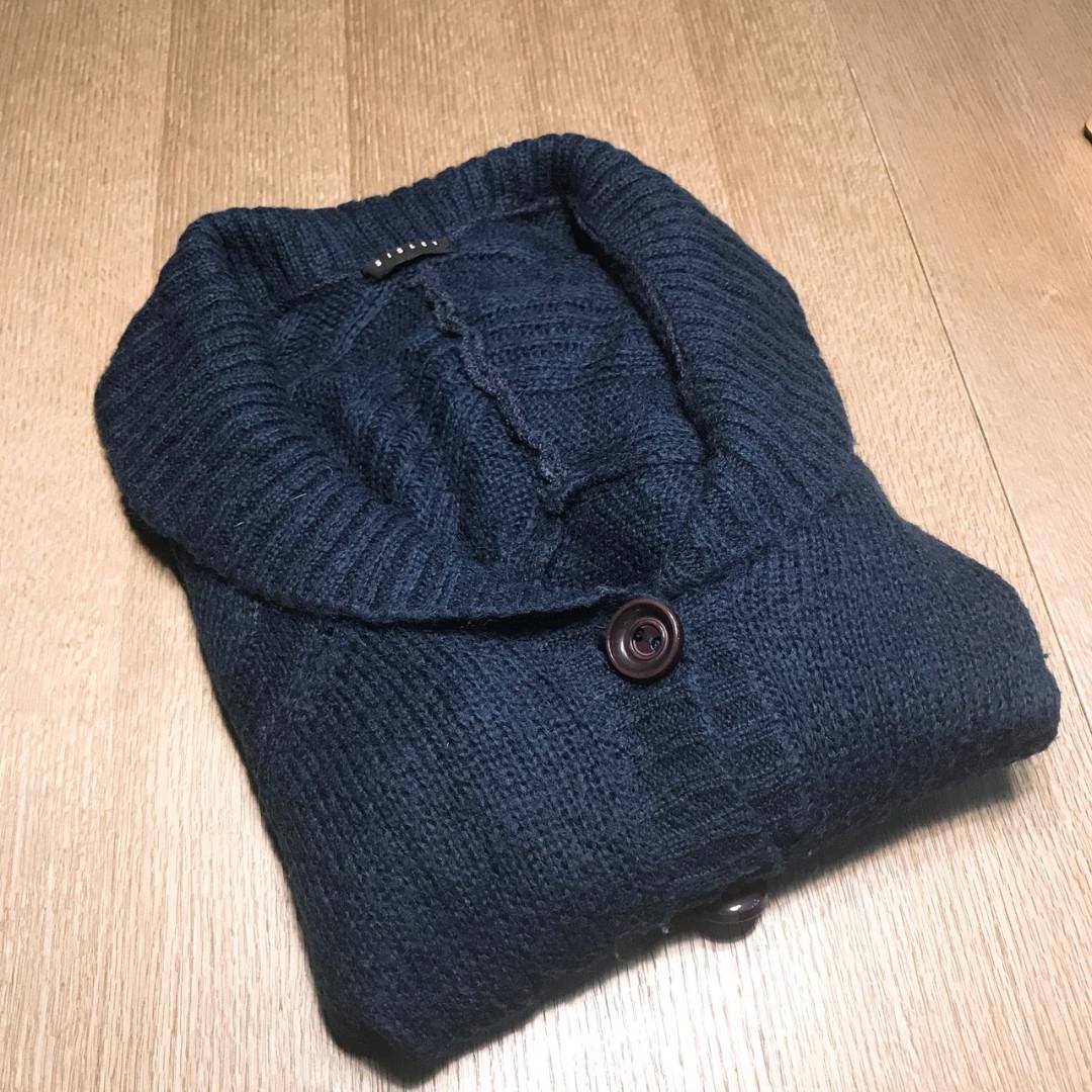 義大利品牌 Sisley開襟針織毛衣 深藍質感 S號