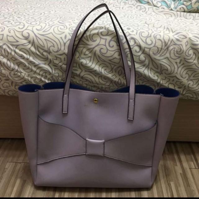 日本購入 日本品牌willseleotion 淡粉紫大包蝴蝶結