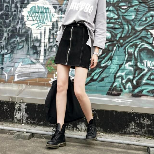 黑色高腰麂皮絨拉鍊A字裙