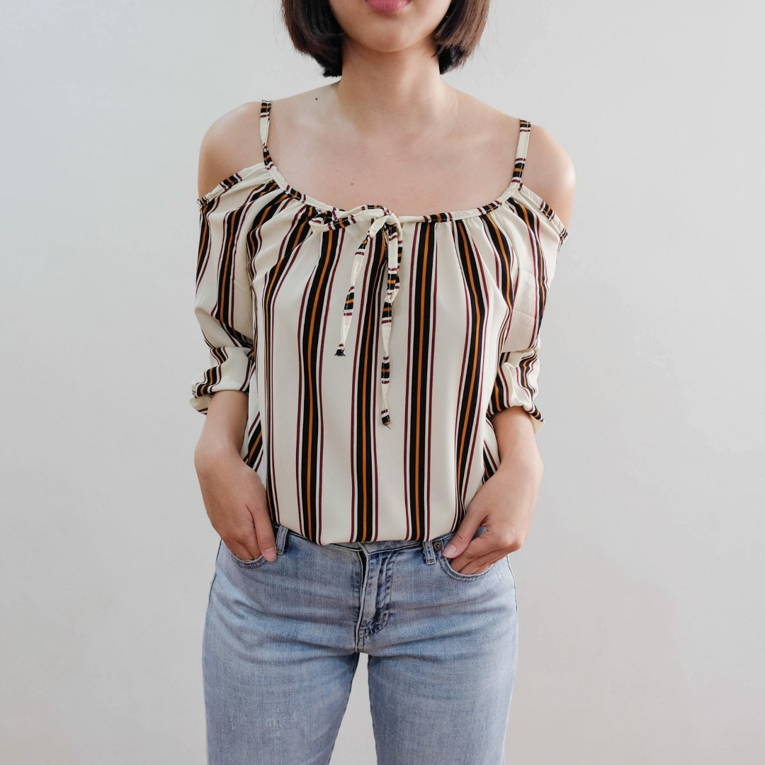 B16 BROWN STRIPES STRAPPY OFTS