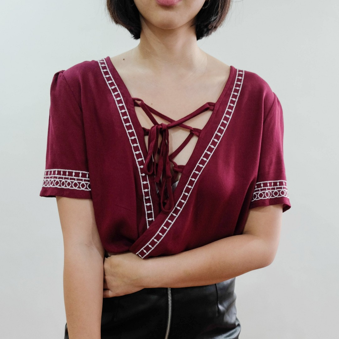 B16 MAROON EMBROIDERED LACE UP BLOUSE