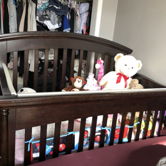 Baby crib dark brown (real wood)