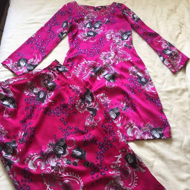 Baju kurung moden tailor made satin silk