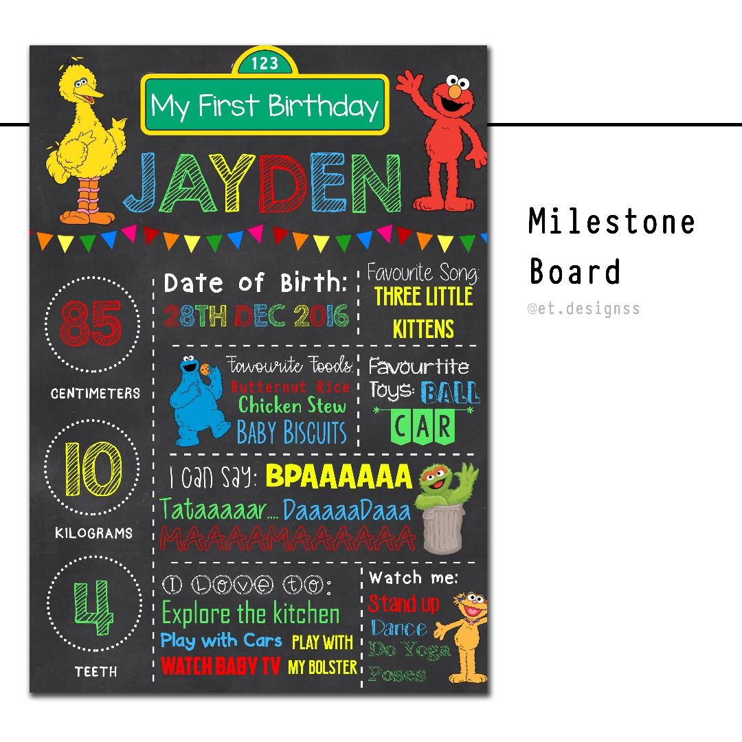 Birthday Milestone Chart Board Babies Kids On Carousell